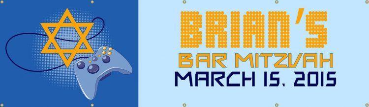 Bar Mitzvah Vinyl Banner with Video Game Design