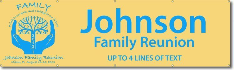 Family Reunion Vinyl Banner with Blue Hands holding Tree Design
