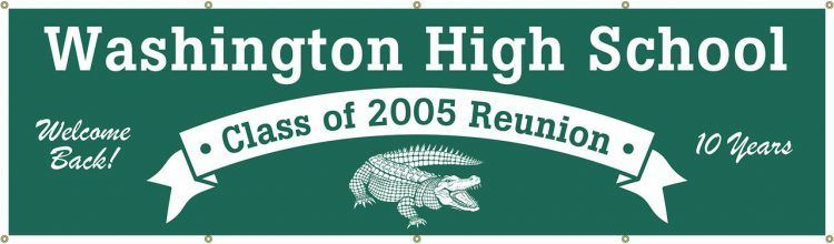 High School Reunion Vinyl Banner with Teal Mascot Design