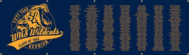 High School Reunion Vinyl Banner with Blue lIsted Classmate Names