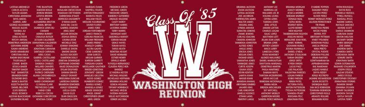 High School Reunion Vinyl Banner with Red Listed Classmate Names