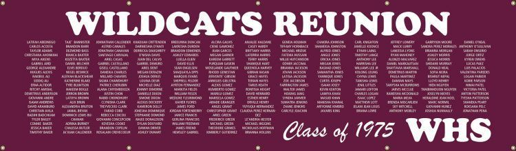 High School Reunion Vinyl Banner with Purple Listed Classmate Names
