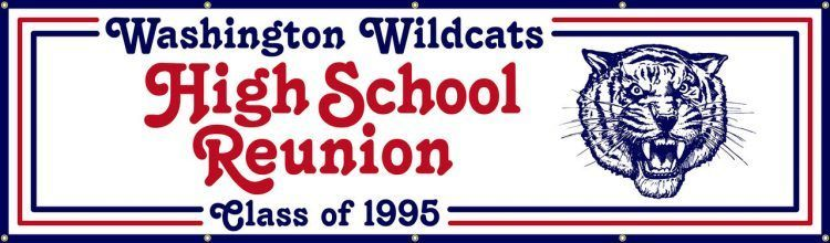 High School Reunion Vinyl Banner with Red White and Blue Mascot Design