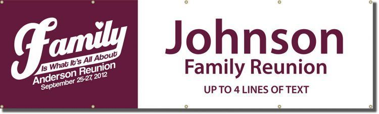 Family Reunion Vinyl Banner with Purple Design