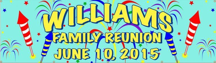 Family Reunion Vinyl Banner with Firework design