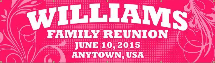Family Reunion Vinyl Banner with Pink Spiral design