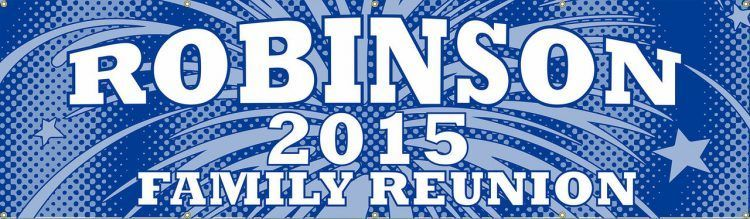 Family Reunion Vinyl Banner with Blue stars