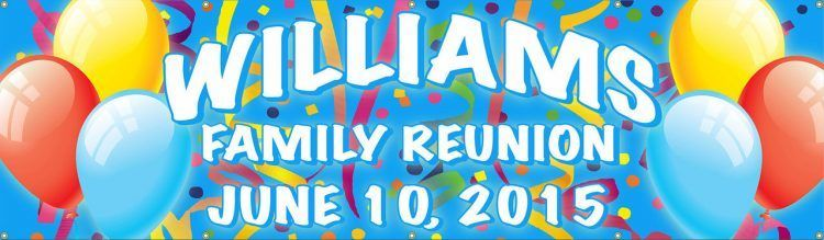Family Reunion Vinyl Banner with Balloons and Streamer design