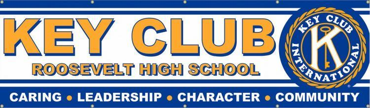 Key Club Vinyl Banner with White and Blue design