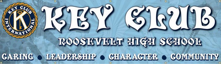 Key Club Vinyl Banner with old time font and Blue design