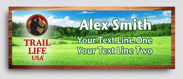 Trail Life Green Pasture Cherry Wood Name Tag