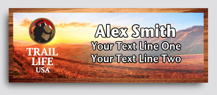 Trail Life Sunset Cherry Wood Name Tag