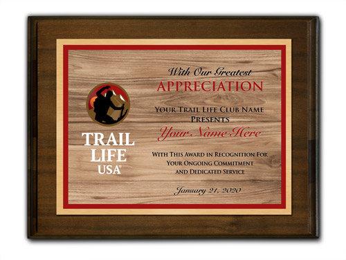 Trail Life Horizontal Walnut Wood Background Plaque