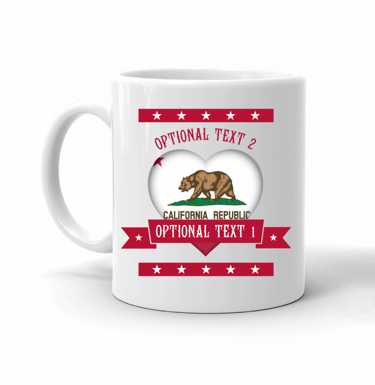 California Heart Flag Mug Front