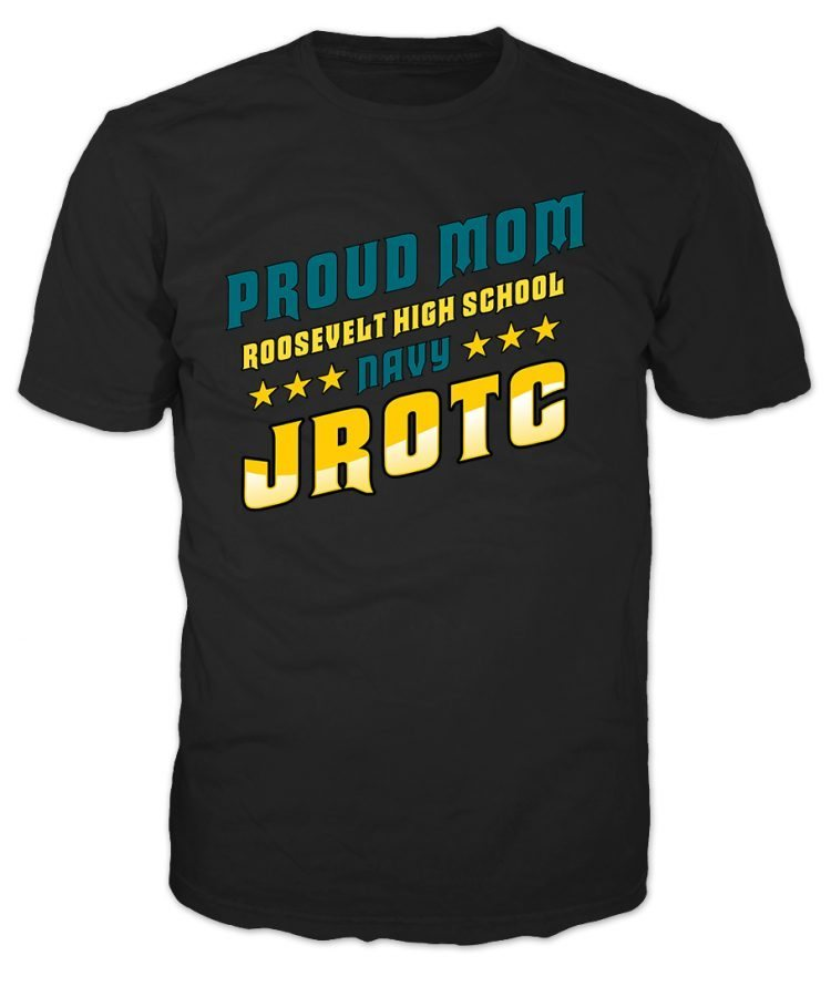 Navy JROTC Proud Mom Black T-Shirt