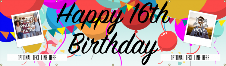 Happy 16th Birthday Banner with Balloons and Custom Photo design