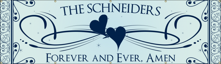 Wedding Vinyl Banner with Blue heart design