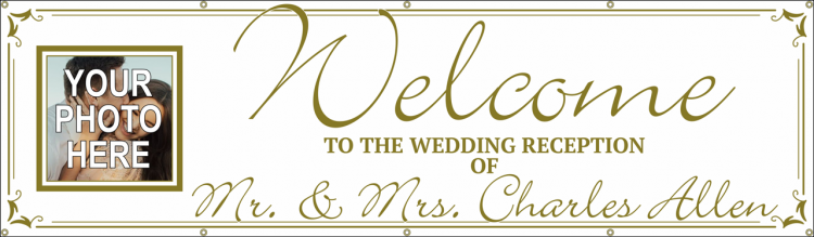 Wedding Vinyl Banner with Gold and Custom Photo Design
