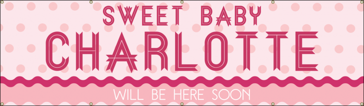 Baby Shower Vinyl Banner with Pink Polka Dot design