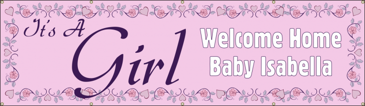 Baby Shower Vinyl Banner with Pink Floral Design