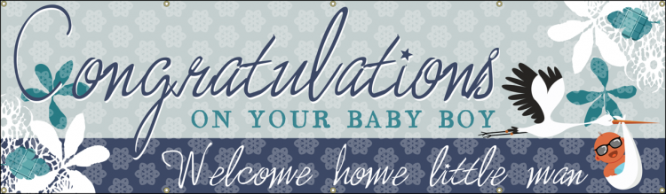 Congratulations Baby Vinyl Banner with Stork