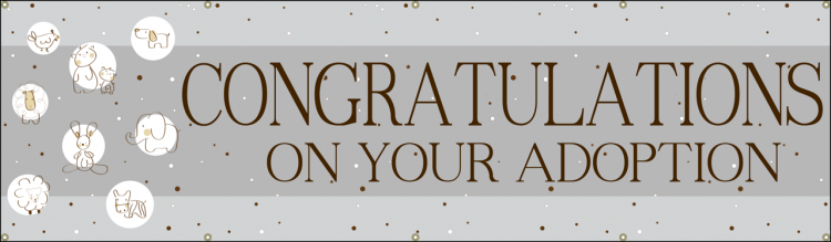 Congratulations Adoption Baby Vinyl Banner with Grey animal theme