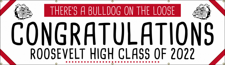 Congratulations Grad Vinyl Banner with Bulldog Mascot Design