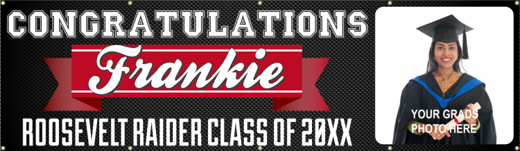 Congratulations Grad Vinyl Banner with Custom Photo and Simply Black and Red Design
