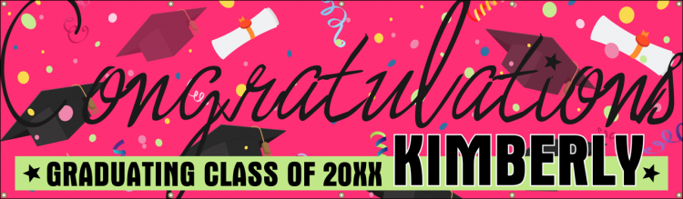 Congratulations Grad Vinyl Banner with Pink Grad Caps and Diploma Design