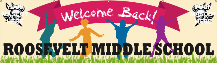 Welcome Back School Vinyl Banner with Children Playing and School Mascot design