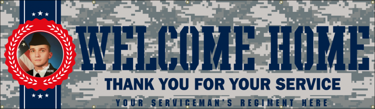 Welcome Home Military Vinyl Banner with camouflage print and custom photo