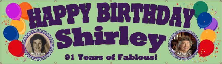 Happy Birthday Vinyl Banner with Balloons and Custom Photo Design
