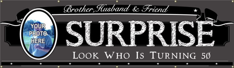 Surprise Event Vinyl Banner with Custom Photo and Black and White color scheme