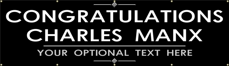Congratulations Vinyl Banner with simple black and white design