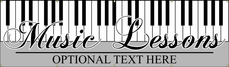 Music Lesson Vinyl Banner with Piano Design