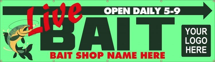 Bait Shop Vinyl Banner with Fishing Design