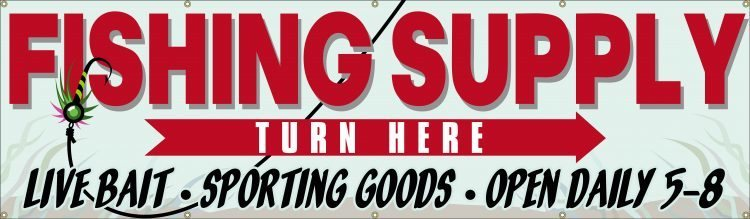 Fishing Supply Store Vinyl Banner with Fishing Lure Design