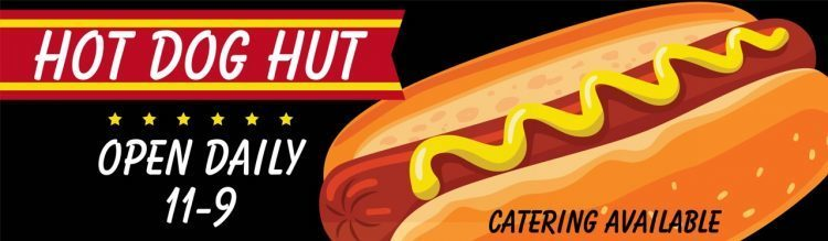 Restaurant Vinyl Banner with Hot Dog Design