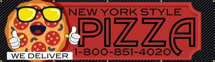 Pizzeria Vinyl Banner with Cartoon Pizza