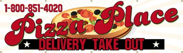 Pizzeria Vinyl Banner with Pizza Design