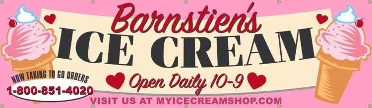 Ice Cream Shop Vinyl Banner with Ice Cream Heart Design