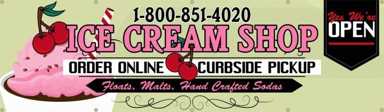 Ice Cream Shop Vinyl Banner with Ice Cream Cherry Design