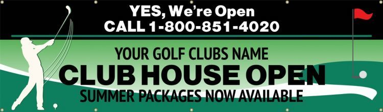 Pro Shop Vinyl Banner with Golf and Club house information design