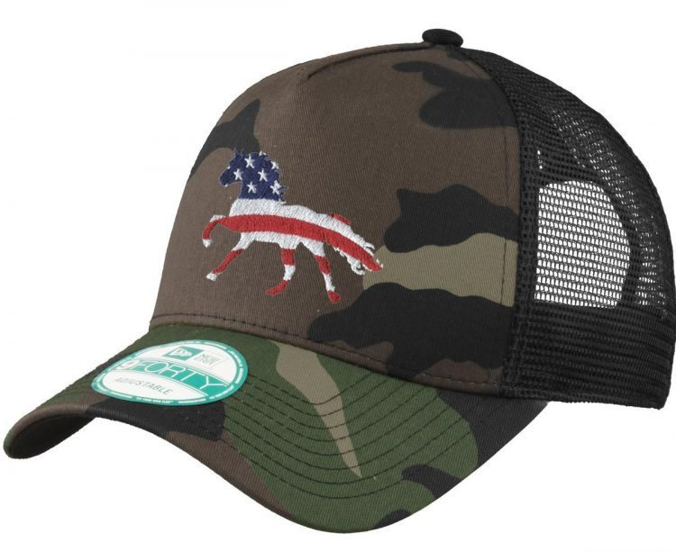 Camouflage hat with embroidered American Flag horse
