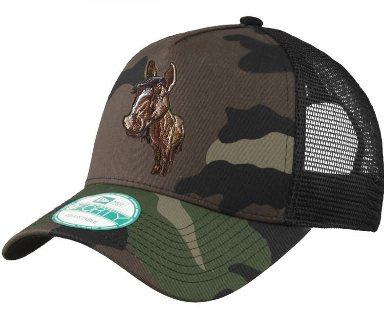 Camouflage hat with embroidered horse