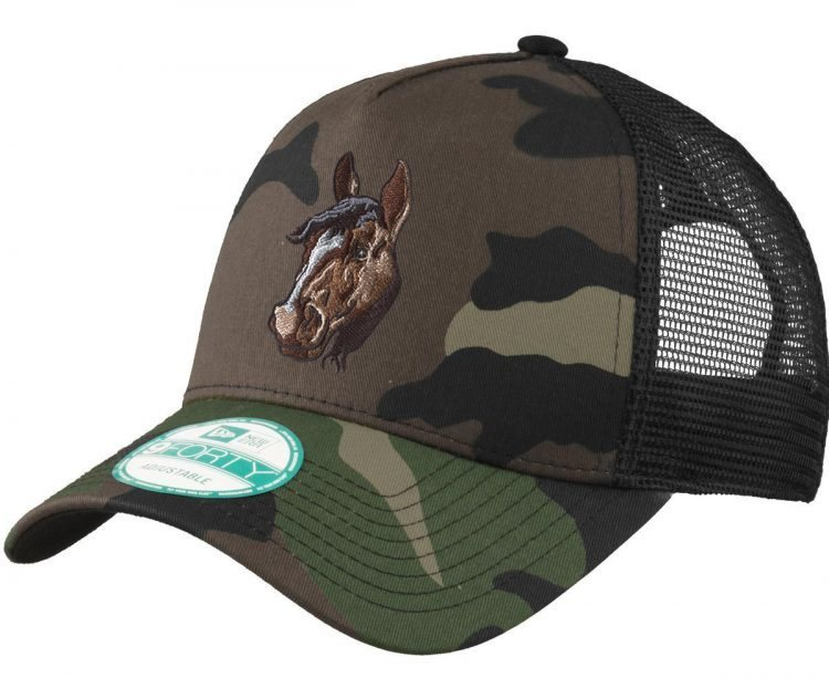 Camouflage hat with embroidered horse head