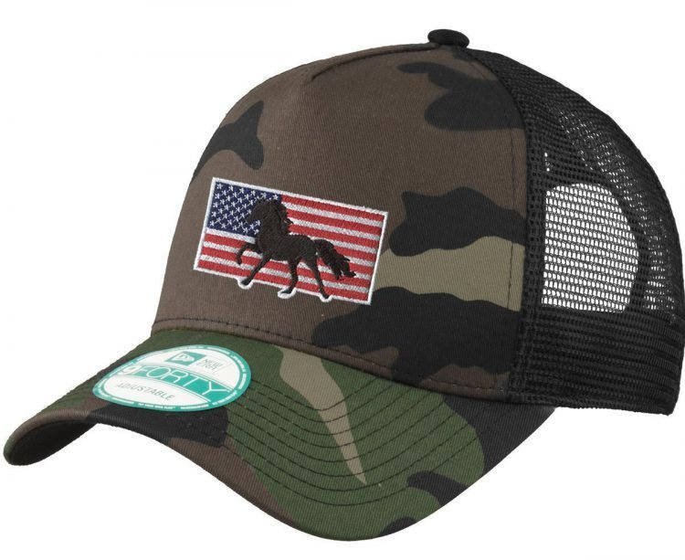 Camouflage hat with embroidered horse and American Flag.