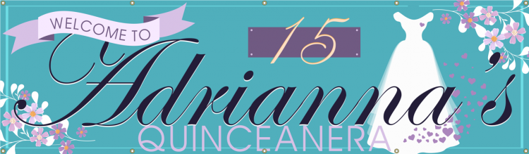 Quinceanera Vinyl Banner with Floral Princess Design