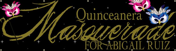 Quinceanera Vinyl Banner with Masquerade Design