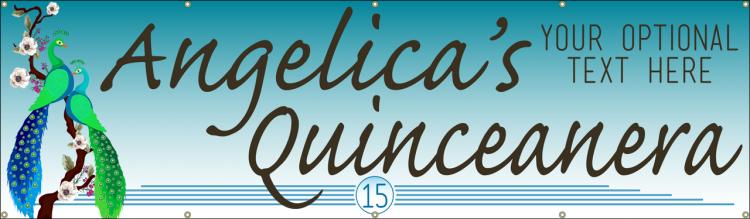 Quinceanera Vinyl Banner with Peacock Design